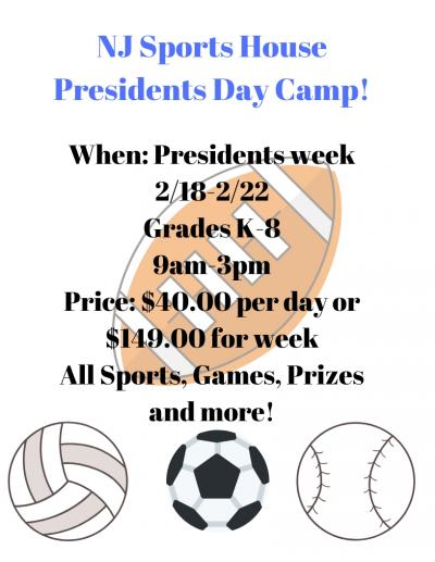 nj sports housepresidents day camp